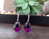 Purple Amethyst Embellished Cubic Zirconia Tear Pear Drop Purple Earrings made with Genuine Swarovski Elements Crystal - UniqueZAZ