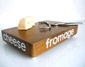 Vintage Cheese Cutting Board - Cheese - Fromage - Wooden - Made in The Philippines
