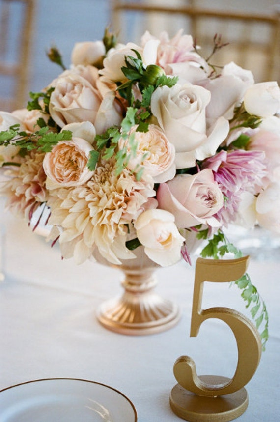 Gold Table Numbers for Wedding or Party Decorations - Set of 1-10 - Table Numbers for Wedding, Gold or Glitter Numbers (Item - NUM110)