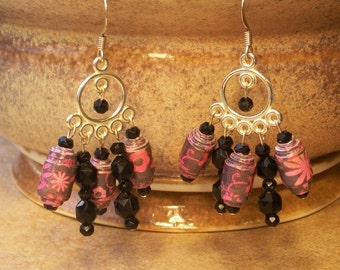 Pink and black Chandelier Earrings - Paper Bead Earrings - Handrolled - pink, flowers, black - Eco Friendly and lightweight - FREE SHIPPING
