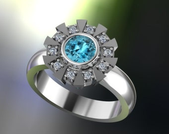 Arc Reactor Inspired Engagement Ring Sterling Silver, White or Black Rhodium,Genuine Blue Topaz & Round Cubic Zirconia, Iron Man Custom