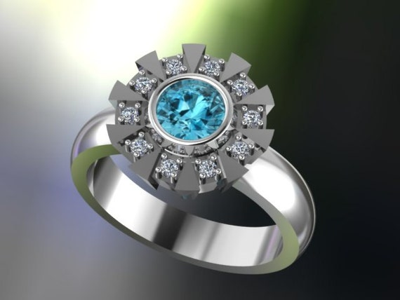 Items similar to Arc Reactor Inspired Engagement Ring Sterling