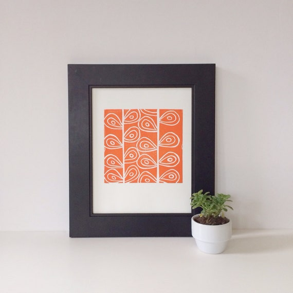Modern Orange Art PRINT of Flower Stems Linocut 8x10
