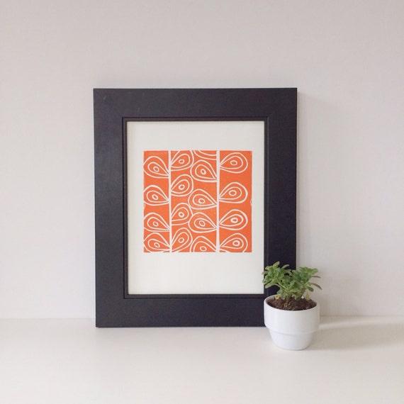 Modern Orange Art PRINT of Flower Stems Linocut 8x10