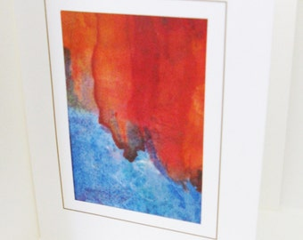 Hand painted card blue with orange tones blank note card 6x4 inches