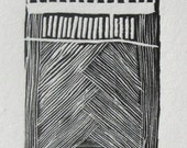 """Wood Engraving: 1 1/2 x 4 1/4 inches. Titled """"Sun Below the Horizon"""""""