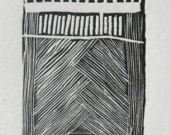 "Wood Engraving: 1 1/2 x 4 1/4 inches. Titled ""Sun Below the Horizon"""