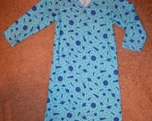 Space Final Frontier Blue Rocket Night Shirt Pajamas 8 10 M Medium