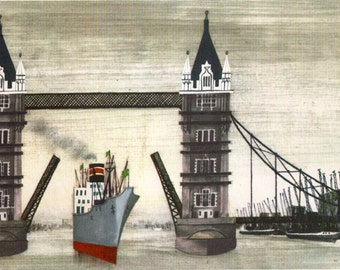 vintage print LONDON Tower Bridge, Thames River, London tourist landmark ,Port of London