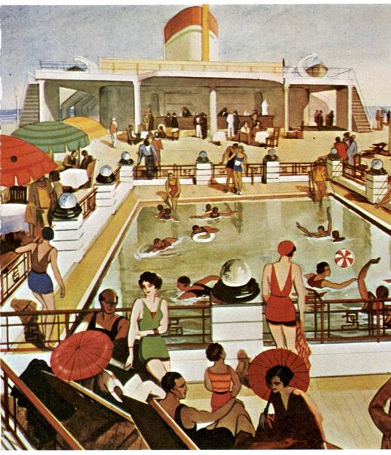 Art Deco Ship: ART DECO Fashions Of Cruise Ship Vintage Ocean Liner Print