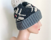 Hand Knit Hat Womens Hat - Three Colours Hat - Knitted Beanie - Soft Wool Yarn - Charcoal Beige Red - Womens accessories