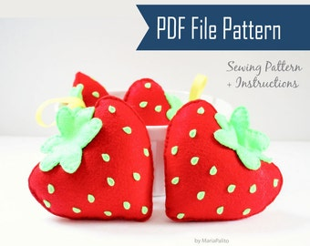 Strawberry Sewing Pattern, Felt Strawberry Plush Kids craft Project  PDF Pattern Instant Download A869