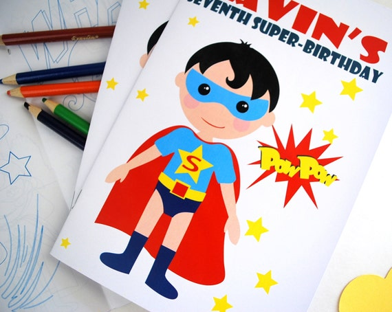 Super Hero Coloring Books, 6 coloring books, SuperHero Party ...