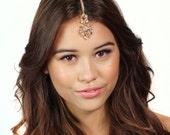 Bronze Crystal Floral Great Gatsby Inspired Headpiece Tikka Chain Headband