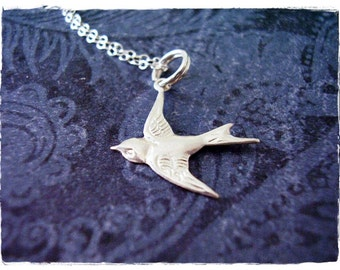 Silver Sparrow Necklace - Sterling Silver Sparrow Charm on a Delicate Sterling Silver Cable Chain or Charm Only
