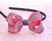 Geranium Stripe Grosgrain Ribbon Headband