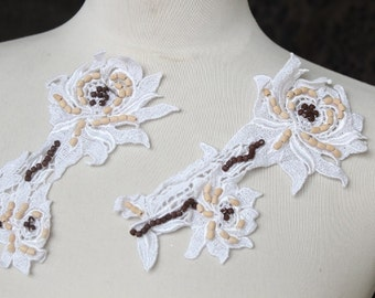 Beautiful beaded  white color  flower applique 2  piece listing