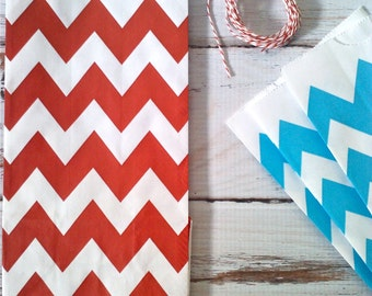 Party Favor Bags Birthday, Friday Shower, Baby Shower Red Chevron, Aqua Chevron, Black Chevron hostess gift bags