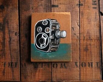 Original Painting of Bolex C8 Movie Camera, Small Painting of Camera on Reclaimed Wood