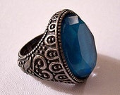 Blue Ocean Oval Ring Silver Tone Vintage Raised Decorative Nail Heads Floral Scroll Designs Size Adjustable