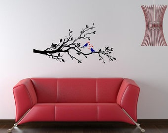 Tree Branch Love Birds Wall Decal - Vinyl Wall Art