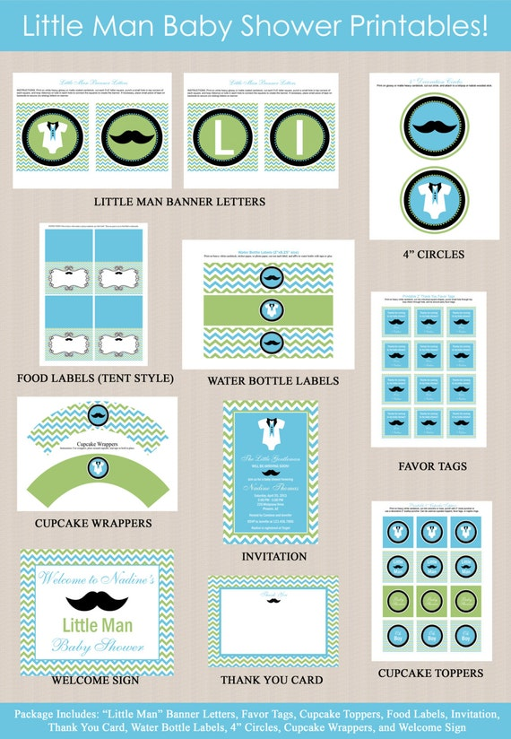 little man baby shower printables package little by honeyprint