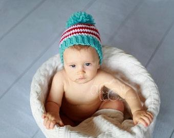 Download PDF crochet pattern 061 - Stripe pompom hat - Multiple sizes from newborn through age 4
