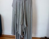 Two layered gray skirt with uneven hem line/ raw edge funky skirt/fabric is rayon cotton jersey/handmade by Chery Johnston