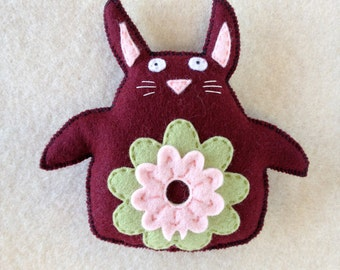 Rabbit Plushie Merlot Red Bunny Rabbit Toy with Mint Green Pink Flower