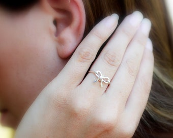 "Petite Bow Ring (the ""Forget Me Knot"" ring) Sterling Silver or Yellow Gold Filled"