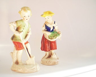 Antique German Porcelain Figurines Pair of Child Gardener Figurines