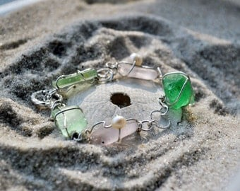 Seaglass Bracelet- Sterling Silver with Purple and Seafoam Green Seaglass
