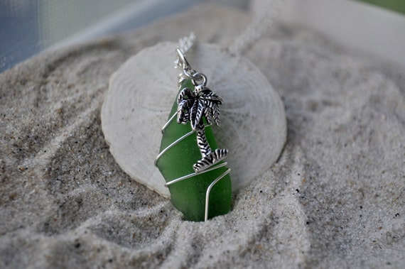 Green Seaglass Palm Tree Necklace