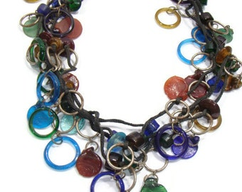 Vintage Glass Bead Four Strand Necklace