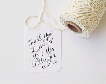 Wedding Favor Thank You with LOVE - Wedding Names and Date Custom Calligraphy Hand Written Stamp