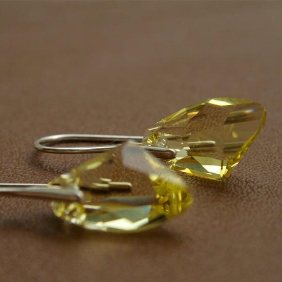 Swarovski Galactic Cut Crystal Earrings Yellow European