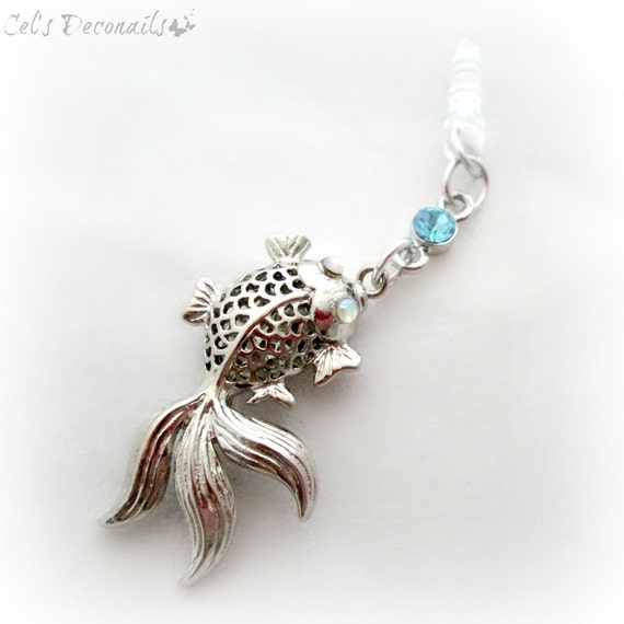 koi fish mobile phone dust plug charm good luck charm