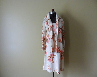 Pink Lilies Vintage Dress with Jacket Size Large A Line Dress