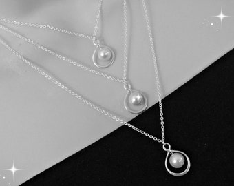 Infinity Necklace - Pearl Necklave - Wedding Jewelry - Bridesmaid Gift - Bridal Party Gift