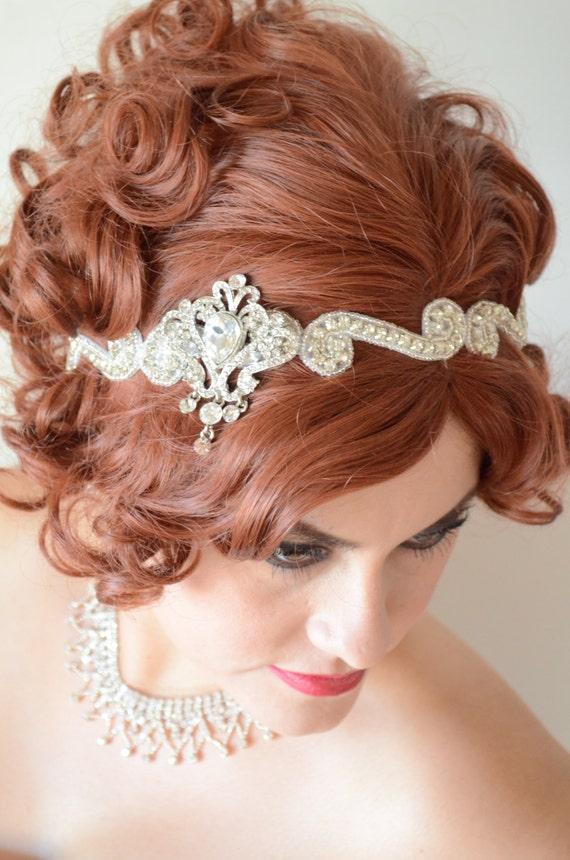 MADE TO ORDER,Gatsby Rhinestone beaded headpiece,Crystal headpiece,1920s Flapper,Dangling rhinestones,Ribbon tie,Headband,Style D001