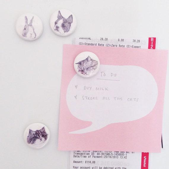 super cute magnets - cat - dog - bunny