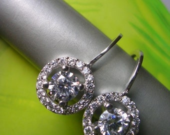 FREE SHIPPING  DIMITRIANA Earring   sparkly elegant bridal antique mid century inspired sterling