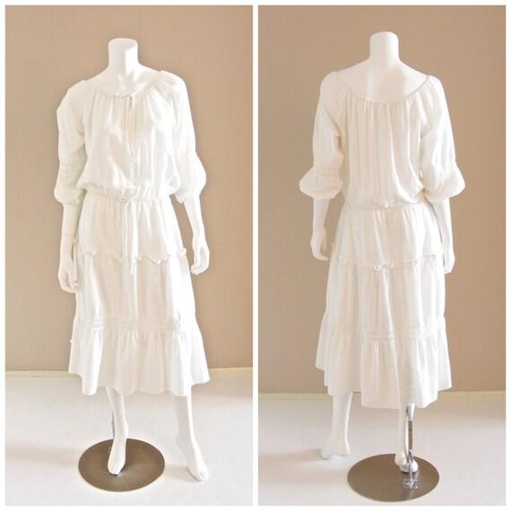Vintage white cotton gauze peasant dress with crochet lace