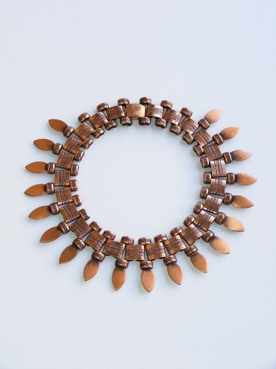 Vintage Copper Southwestern Choker Necklace. 1960s Vintage statement necklace.