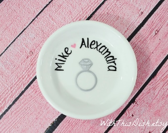 Ring Holder Dish- Personalized Engagement Gift for the Bride, Name Arched Above Ring