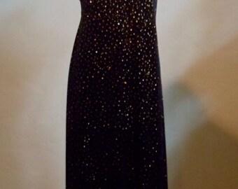 "Vintage Alex Evenings Floor Length Black Velour Dress with Gold Glitter Bust 36"" Waist 33"""