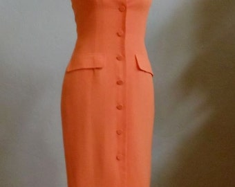 "Vintage Ananas Orange Mid Calf Dress that Buttons Up Front Bust 33"" Waist 27"""