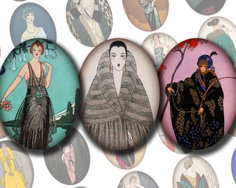 30x40 mm Digital Printable Ovals FRENCH FASHION PLATES No. 2 Collage Sheet for Cameos Pendants Magnets Cab Settings...Georges Barbier
