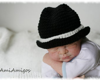 Crochet Little Man Fedora Hat (Newborn)