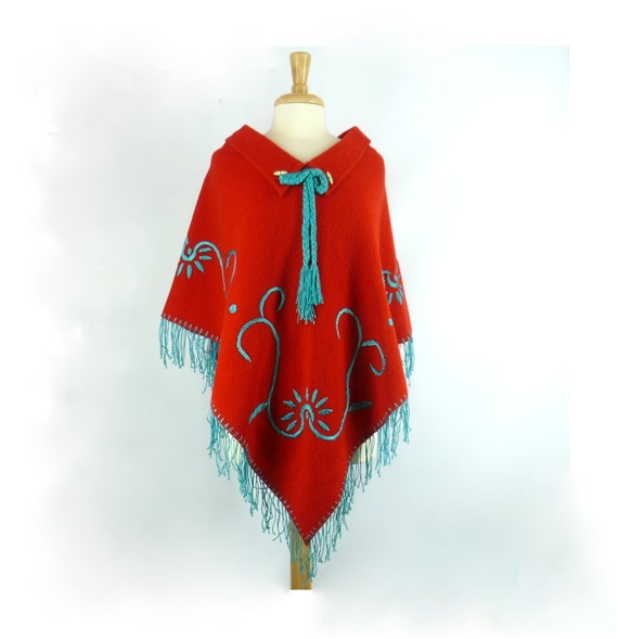 Bright Red Mexican Wool Poncho Vintage 1940s By